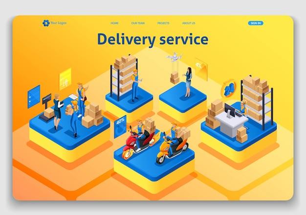 Website sjabloonontwerp. isometrische concept werken met bezorgservice. express levering, online bestelling, callcenter. gemakkelijk te bewerken en aan te passen landingspagina uiux.