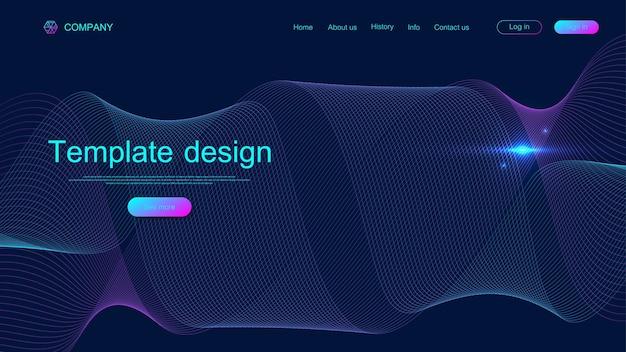 Website sjabloonontwerp. trek wetenschappelijke achtergrond aan met kleurrijke dynamische golven. moderne bestemmingspagina