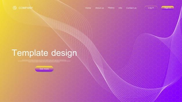 Website sjabloonontwerp. trek wetenschappelijke achtergrond aan met kleurrijke dynamische golven, zeshoekig innovatiepatroon. illustratie.