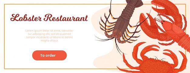 Website sjabloonontwerp voor kreeft restaurant levering service illustratie vlakke stijl. webpagina banner voor visrestaurant om eten online te bestellen.