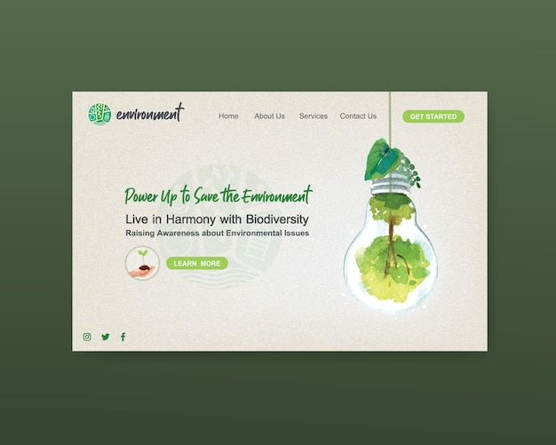 Website sjabloonontwerp voor wereldmilieudag. bewaar earth planet world concept aquarel vector