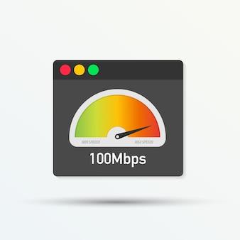 Website snelheid laadtijd. webbrowser met snelheidsmetertest die snel goede pagina-laadsnelheid toont. vector illustratie