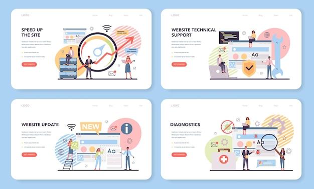 Website technische ondersteuning webbanner of bestemmingspagina-set