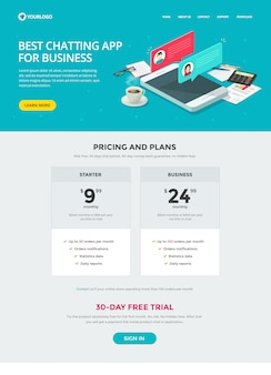 Website template design of chat messaging app for business or website landing page and live chat app vector layout