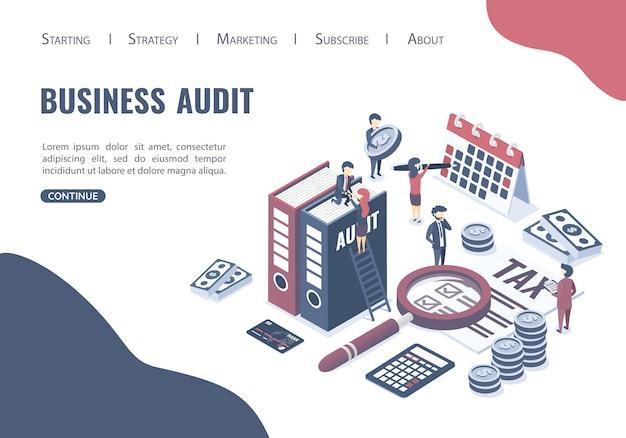 Website voor bestemmingspagina websjabloon. het concept van bedrijfsauditing.