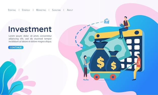 Website voor bestemmingspagina websjabloon. het concept van investeringen.