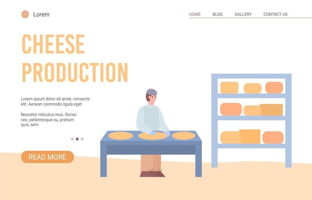 Website voor kaasproductie met bestemmingspagina voor cartoon van kaasmaker