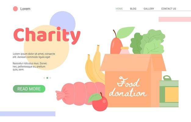 Website voor liefdadigheidsstichting evenement van voedselschenking, plat