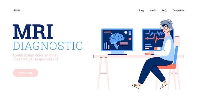 Website voor mri-diagnose met arts achter monitor platte vectorillustratie