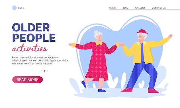 Website voor oudere mensenactiviteiten met senior dansende cartoon vectorillustratie