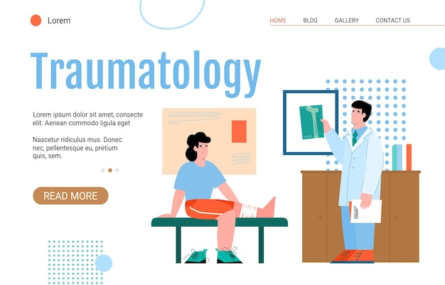 Website voor spoedeisende chirurgie en traumatologie kliniek platte vectorillustratie