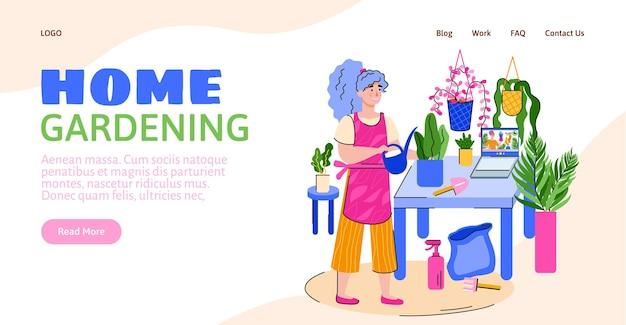 Website voor thuis tuinieren met vrouw zorgt voor planten platte vectorillustratie