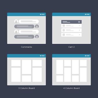 Website wireframe layouts ui-kits voor sitekaart en ux-ontwerp