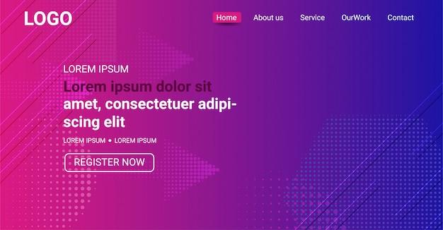 Websitebanner, abstracte paarse en blauwe achtergrond met kleurovergang