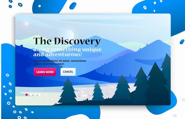 Websitebanner met reisillustratie van nationaal park, bergen en uitzicht op het meer.