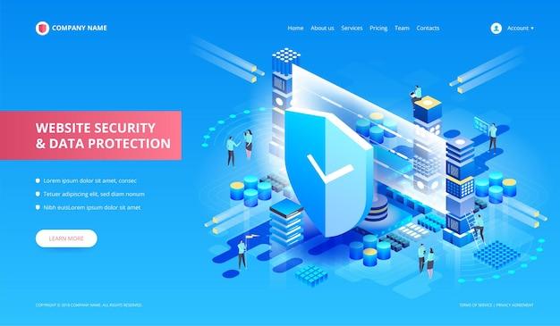 Websitebeveiliging en gegevensbescherming. isometrische illustrat