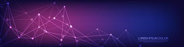 Websitekoptekst of bannerontwerp met abstracte geometrische achtergrond en verbindende punten en lijnen. wereldwijde netwerkverbinding. digitale technologie met plexusachtergrond en ruimte voor uw tekst.
