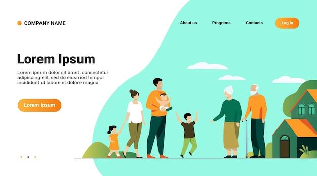 Websitemalplaatje, bestemmingspagina met illustratie van familievergadering in grootouderslandhuis