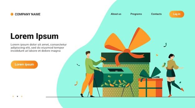 Websitemalplaatje, bestemmingspagina met illustratie van loterijwinnaars met loterijtrommel en geschenkdozen