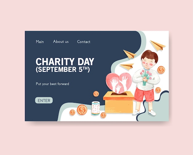 Websitemalplaatje met het conceptontwerp van de internationale dag van liefdadigheid voor online gemeenschap en internetwaterverf.