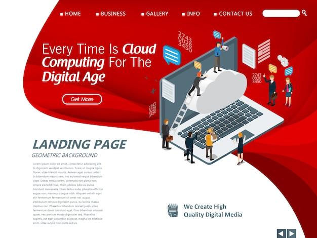 Websitemalplaatje voor cloud computing-beheer