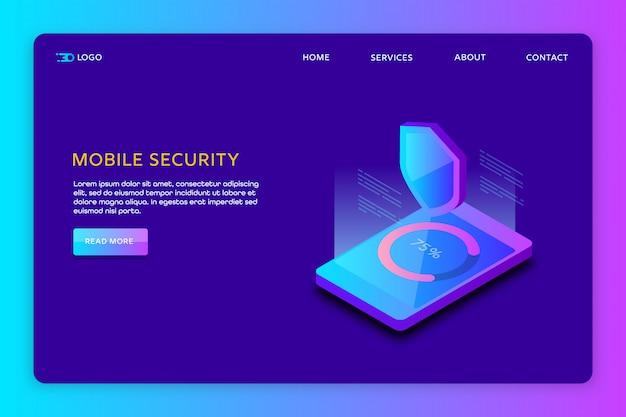 Websitemalplaatje voor mobiele gegevensbeveiliging