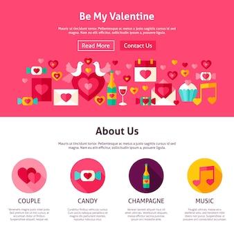 Websiteontwerp be my valentine. vlakke stijl vectorillustratie voor webbanner en bestemmingspagina. liefde vakantie.