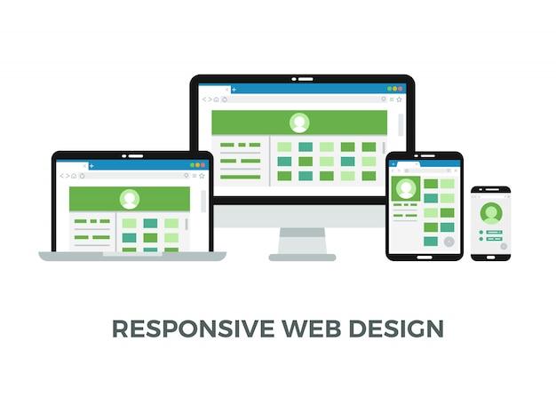 Websitepagina op schermen van verschillende apparaten
