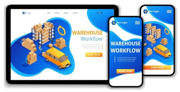 Websitesjabloon bestemmingspagina isometrisch concept magazijnworkflow, magazijnlogistiek, vrachtvervoer, ondersteuning 24 7. eenvoudig te bewerken en aan te passen, adaptieve ui ux.