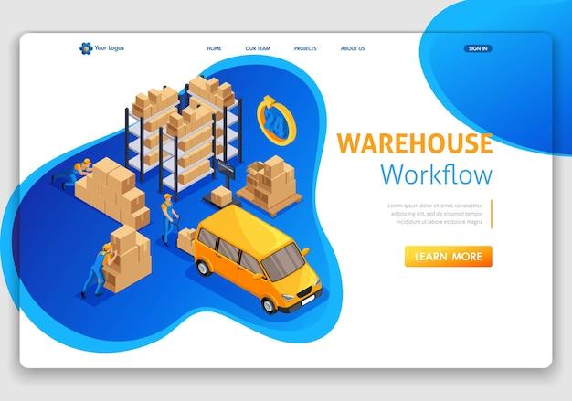 Websitesjabloon bestemmingspagina isometrisch concept magazijnworkflow, magazijnlogistiek, vrachtvervoer, ondersteuning 24 7. eenvoudig te bewerken en aan te passen.