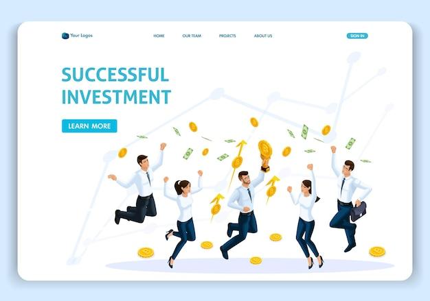 Websitesjabloon landingspagina isometrisch concept bedrijfsanalyse, succesvolle investering, teamwerk, werknemers springen. gemakkelijk te bewerken en aan te passen.
