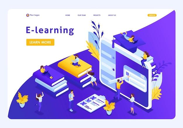 Websitesjabloon landingspagina isometrisch concept e-learning voor tweede hoger onderwijs, zelfstudie, geavanceerde training. gemakkelijk te bewerken en aan te passen.
