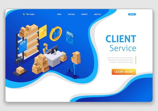 Websitesjabloon landingspagina isometrisch concept klantenservice, hotline-operator, wereldwijde technische ondersteuning 24 7. eenvoudig te bewerken en aan te passen.