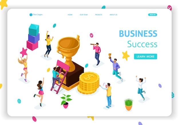 Websitesjabloon landingspagina isometrisch concept zakelijk succes, leiderschap, prijzen, carrière, succesvolle projecten, doel. gemakkelijk te bewerken en aan te passen.