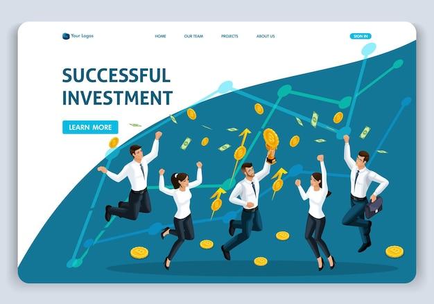Websitesjabloon landingspagina isometrische conceptinvestering in moderne technologie, succesvolle investering, teamwerk, werknemers springen. gemakkelijk te bewerken en aan te passen.