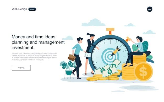 Websjabloon bestemmingspagina. bedrijfsconcept voor tijd en geld besparen.