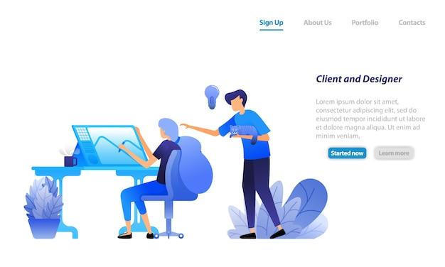 Websjabloon bestemmingspagina. cliënt geeft advies, regisseert en bediscussieert ideeën met ontwerper. klant schikken ontwerper.