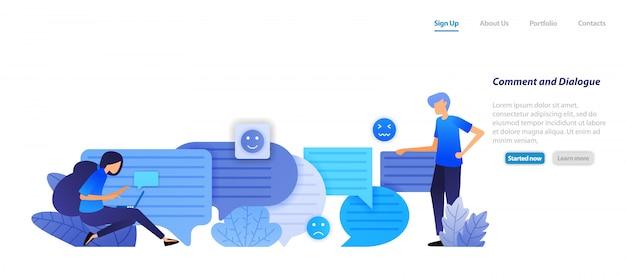 Websjabloon bestemmingspagina. commentaarvak en dialoogvenster. mensen chatten elkaar met bubbel-chat-emoticons voor spraak en communicatie.