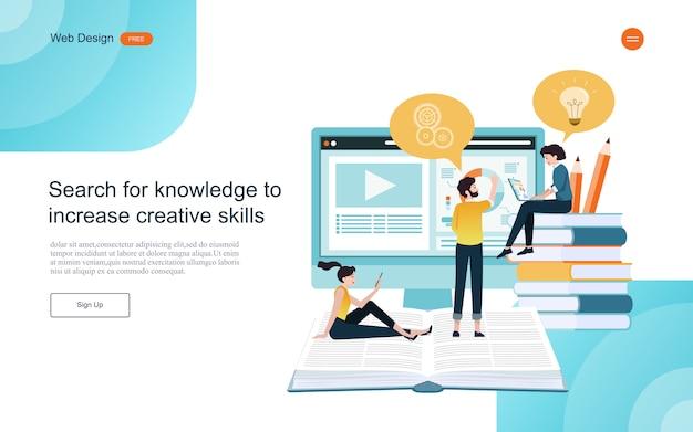 Websjabloon bestemmingspagina. concept van onderwijs voor online leren, training en cursussen.