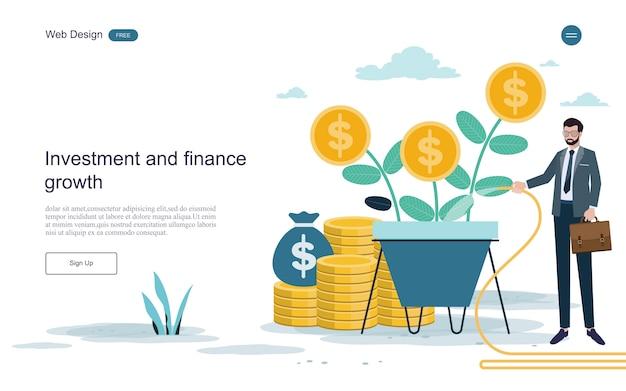 Websjabloon bestemmingspagina. concept voor financiële en investeringen. return on investment.