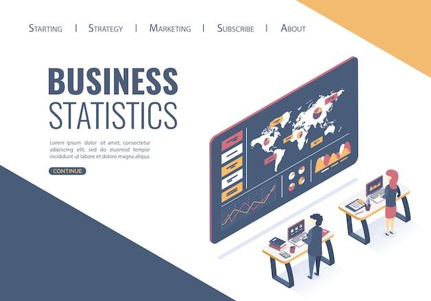 Websjabloon bestemmingspagina. isometrische vectorillustratie. conceptanalyse van gegevens, statistisch onderzoek. de beste oplossingen vinden om bedrijfsideeën te promoten