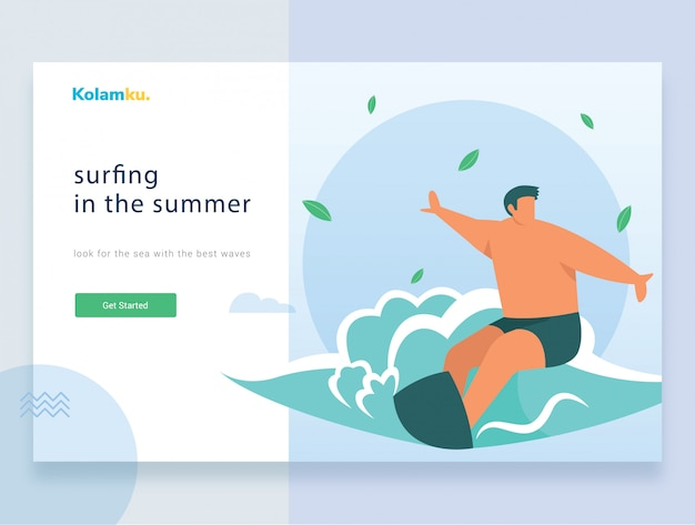 Websjabloon bestemmingspagina. surfer die de golf berijdt. vector illustratie
