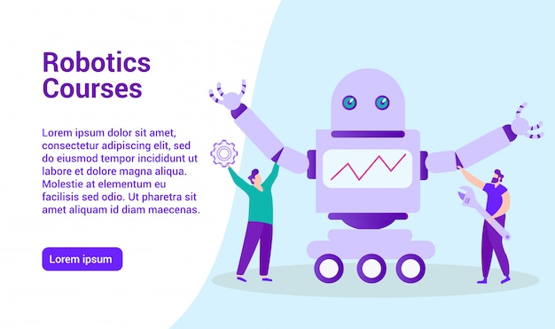 Websjabloon bestemmingspagina voor afstandsonderwijs. robotica-cursussen. afstand leren. online les. e-learning