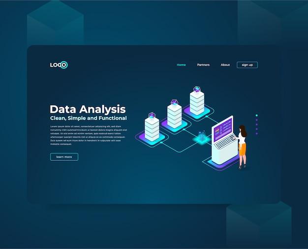 Websjabloon bestemmingspagina voor cryptocurrency en blockchain isometrische samenstelling, analisten en managers die werken aan crypto-startup, data-analisten