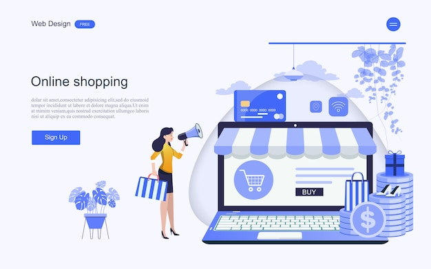 Websjabloon bestemmingspagina voor online winkelen en diensten