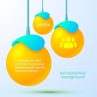 Websjabloon infographic met hangende oranje drie ballen met tekst en teampictogram