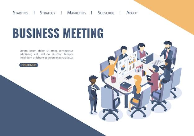 Websjabloon met het concept van zakelijke bijeenkomst.