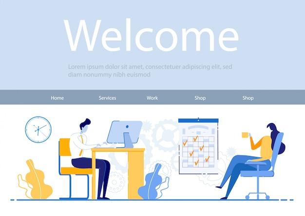 Websjabloon met illustratie, man werkt geconcentreerd op laptop, meisje is ontspannen koffie drinken. professionele werknemers leg vast wat u doet tijdens de cursuswerkdag.
