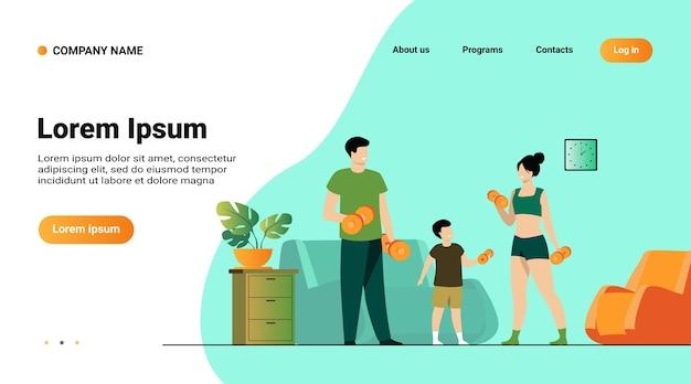 Websjabloon of bestemmingspagina met illustratie van het concept van familiesportactiviteiten