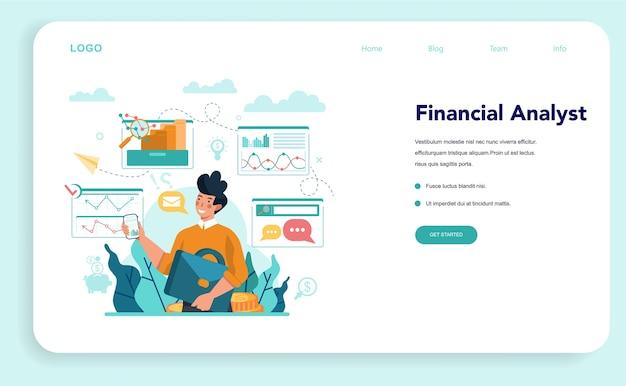 Websjabloon of bestemmingspagina voor financieel analisten of adviseurs.